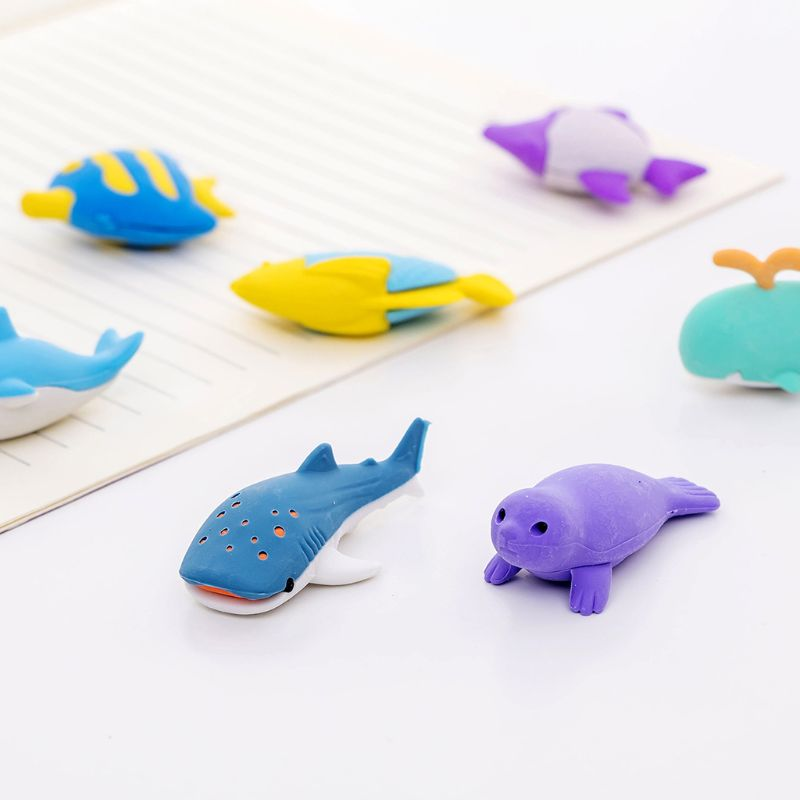 4pcs/set Creative Ocean Animal Fish Pencil Rubber Eraser School Student Korean Stationery Correction Supplies For Kids Gifts