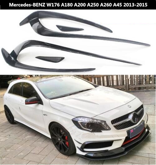 Carbon Fiber For Car Front Bumper Spoiler Lip Spoiler Side Aprons For <font><b>Mercedes</b></font>-<font><b>Benz</b></font> <font><b>W176</b></font> A180 <font><b>A200</b></font> A250 A260 A45 2013 2014 2015 image