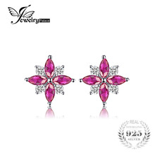 Jewelry Accessories - Fine Jewelry - JewelryPalace Flowers 0.9ct Created Ruby Stud Earrings Pure 925 Sterling Silver Feminine Fashion Earrings Jewelry For Women