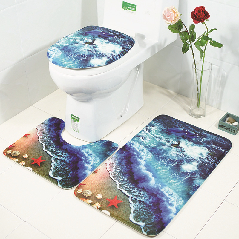Swell Us 5 84 10 Off 3Pcs Set 3D Wave Print Non Slip Toilet Bathroom Pad Floor Mat Rug Carpet Absorbent Pedestal Rug Lid Toilet Cover Bath Mat In Toilet Bralicious Painted Fabric Chair Ideas Braliciousco