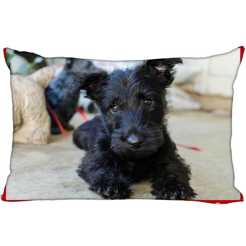 Custom Soft Pillow Case Cover 35X45cm (one Side) Zippered Pillowcase Lovely Dog Scottish Terrier Popular Design
