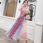 2018 Summer Runway Designer Pleated Maxi Dress New Women Rainbow Ruffle Pleated Chiffon Maxi Dresses