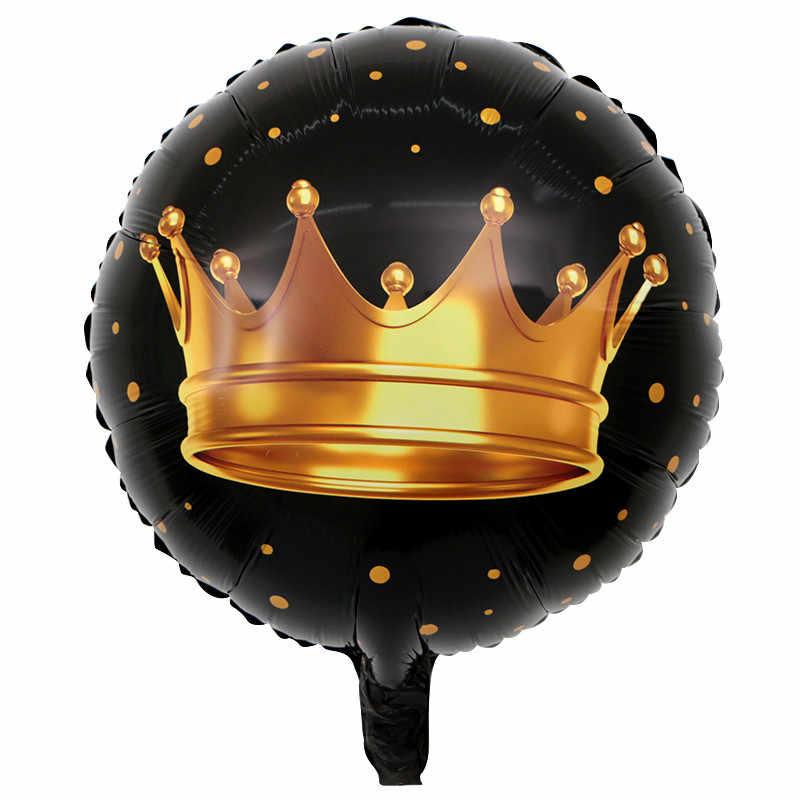 18 дюймов Свадебная Золотая Корона фольги воздушные шары 50 шт. черные гелиевые шары Свадебные Принцесса с днем рождения украшения детские игрушки