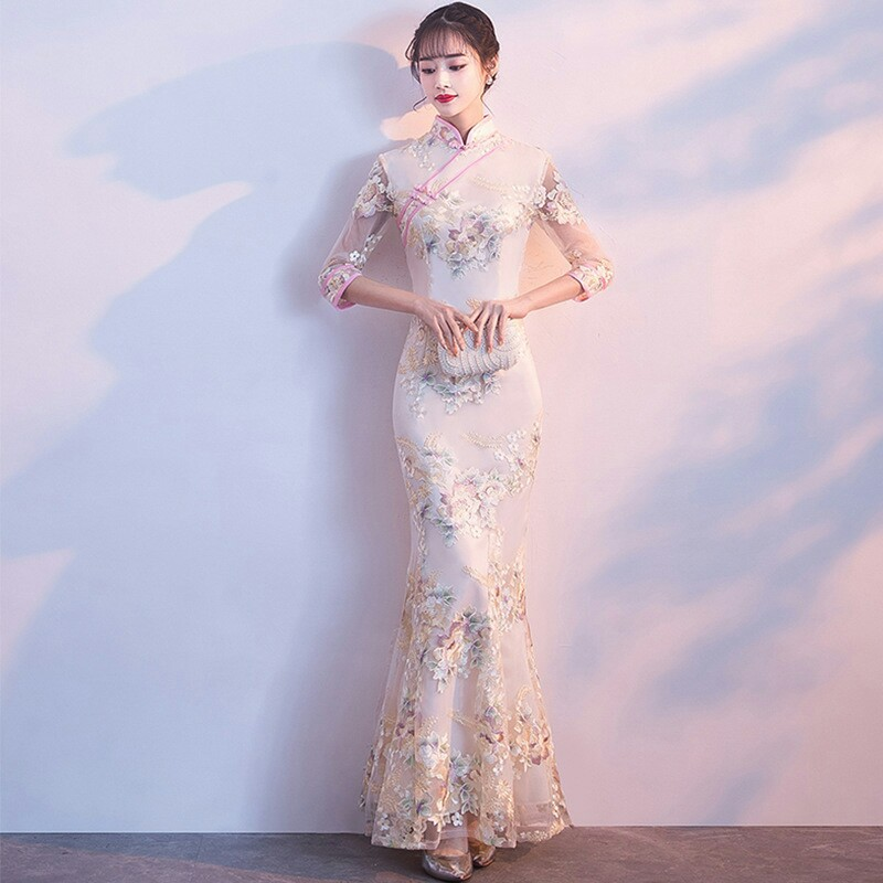 Wedding Party Cheongsam Oriental Evening <font><b>Dress</b></font> <font><b>Chinese</b></font> Traditional Women Elegant Qipao <font><b>Sexy</b></font> Long Robe Retro Vestido S M L XL XXL image