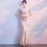Wedding Party Cheongsam Oriental Evening Dress Chinese Traditional Women Elegant Qipao Sexy Long Robe Retro Vestido S M L XL XXL