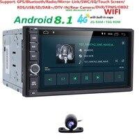 2G RAM Android 8,1 авто радио 4 ядра 7 дюймов 2DIN Универсальный Автомобильный нет dvd плеер gps Nissan аудио головное устройство Поддержка DAB DVR OBD BT