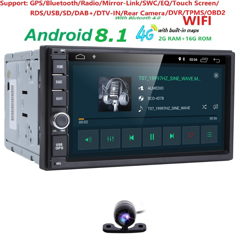 цена 2G RAM Android 8.1 Auto Radio Quad Core 7Inch 2DIN Universal Car NO DVD player GPS Nissan Audio Head unit Support DAB DVR OBD BT