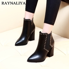 Autumn Winter Fashion Motorcycle Boots Women Thick Square High Heels 2018 New Sexy Zippers Rivet Ankle Shoes CH-A0006