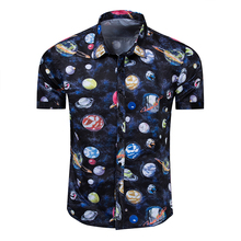 цена Men's Shirts Summer Fashion New Cotton Shirt Cosmic Planet Print Short Sleeve Shirt Print онлайн в 2017 году