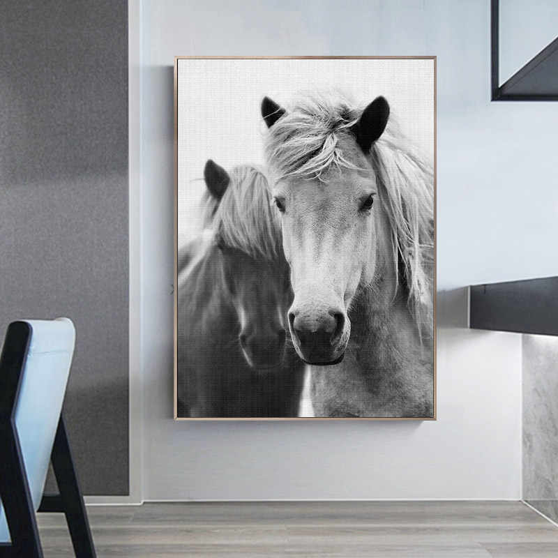 Wall Art Landscape Canvas Poster Nordic Ocean Beach Painting Horse Minimalist Nordic Style Print Painting Decorative Picture