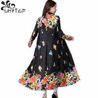 UHYTGF Spring Autumn Long Coat Wome's Retro Printing Cardigan Skirt Style Outerwear Long sleeve Slim Windbreaker Coat Ladies 999