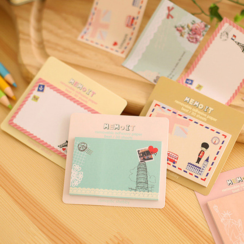 8pcs/lot New Creative Cute Europe United States Convenient Note Stickers Memoit Removable Adhesive Paper Posted Message Stickers
