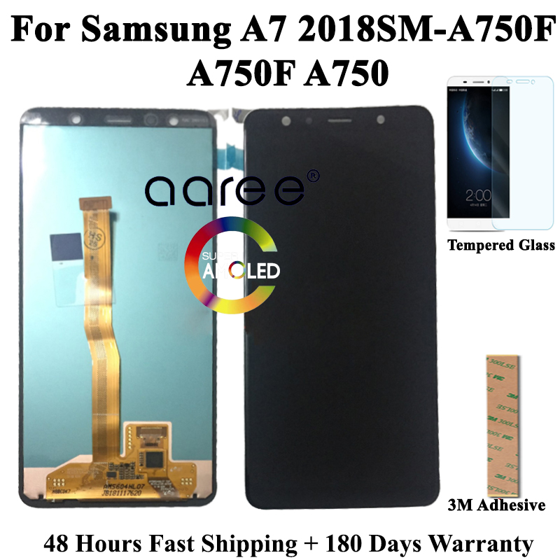 Super AMOMLED Original LCD  For Samsung A7 2018 A750 LCD A750 lcd For Samsung A750F A7 2018 LCD Screen Touch Digitizer Assembly-in Mobile Phone LCD Screens from Cellphones & Telecommunications    1