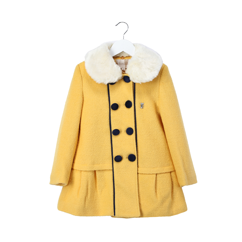 Top quality girls wool coats with new design double breasted fur ...