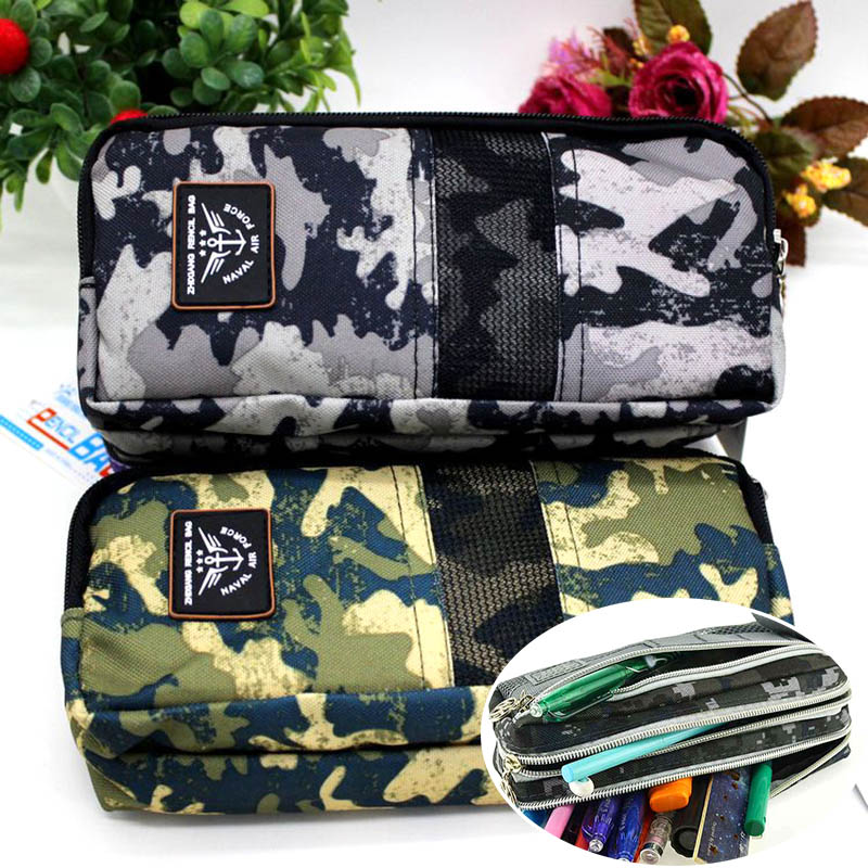 Creative Large Camouflage Pencil Case Multilayer Zipper Canvas Pencil Box For Kids Korean Stationery Student pencil case color simple love excellent pencil box creative student pencil case large capacity stationery storage box