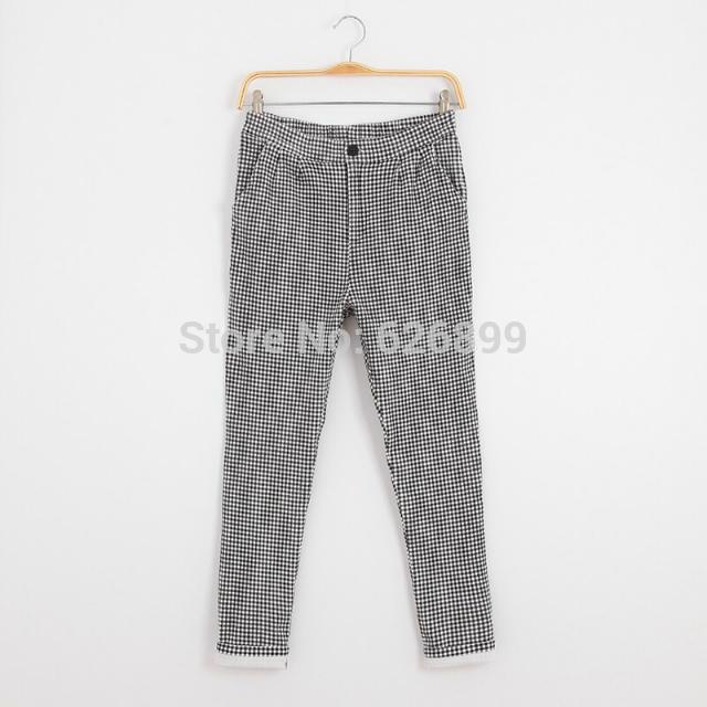 2016 Outono Nova Moda de Corpo Inteiro Calças Xadrez Calças Lápis Slim Calça Casual Skinny Leggings CC19