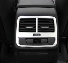 world datong interior abs chrome rear air condition armrest outlet vent panel carbon fiber texture trim 1pcs for jaguar e pace For Audi A4 b9 2016 2017 ABS Chrome Accessories Car Back Rear Air Condition outlet Vent frame Panel Sequins Cover trim sticker