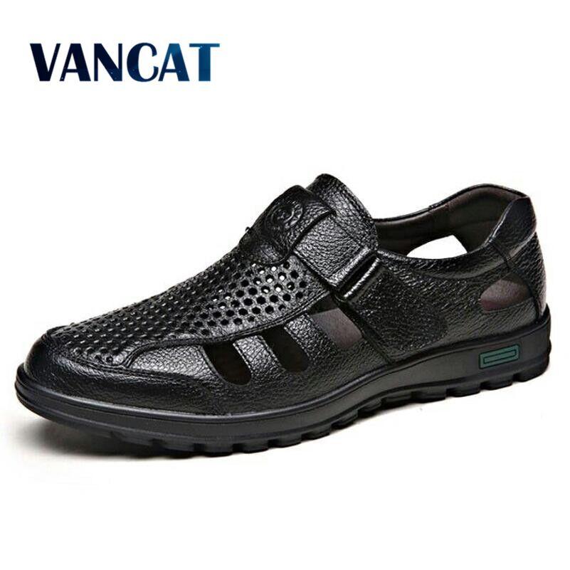 VANCAT Luxury Classics Summer Shoes Men Sandals Fashion Male Sandalias Beach Shoes Soft Bottom Breathable Leather Sandals Flats