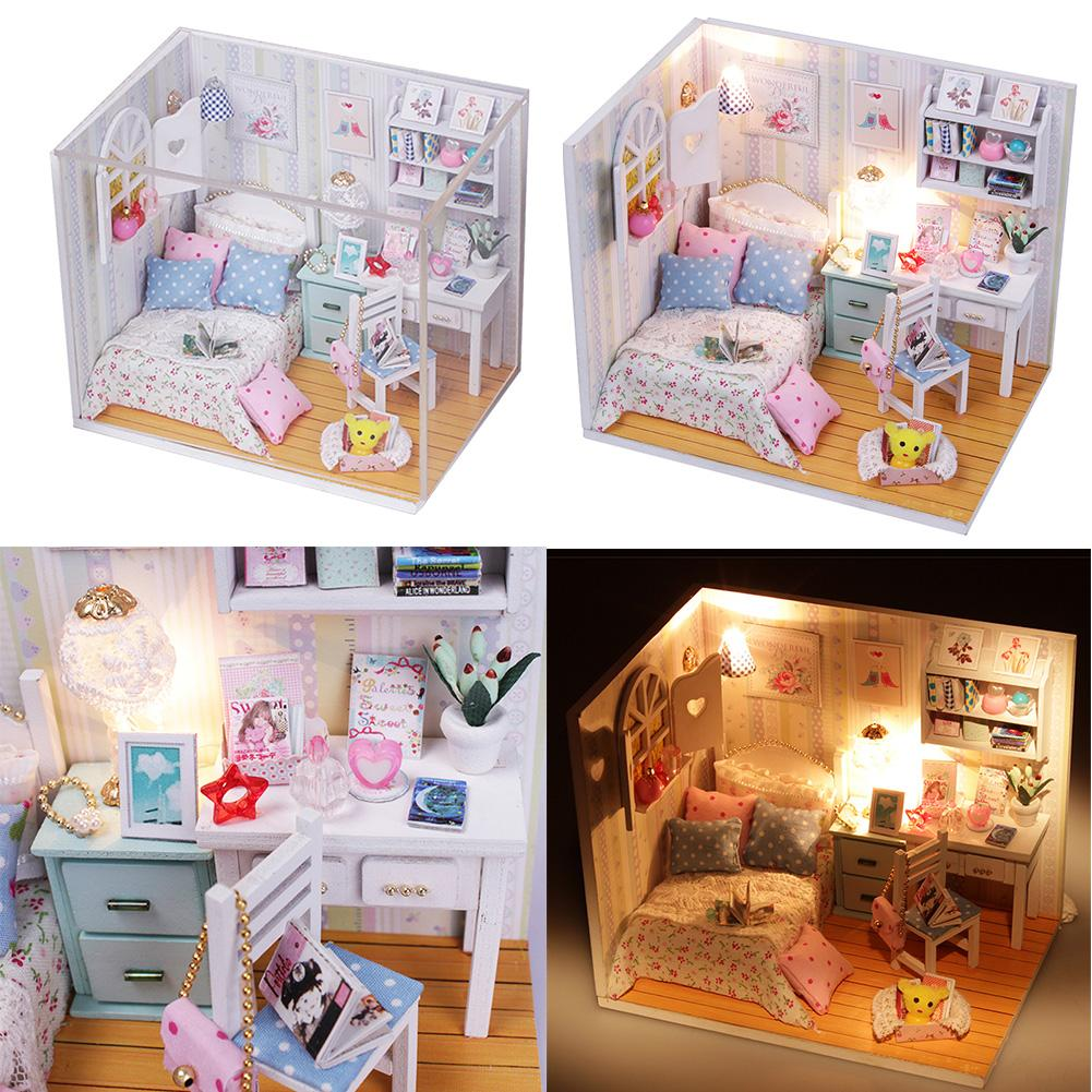Creative Kits DIY Wood Dollhouse Bed Miniature With LED+Furniture+cover Magic