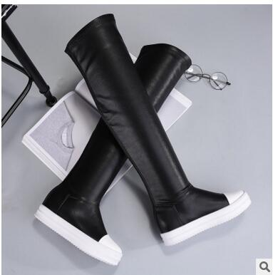 ФОТО Real Leather women Boots Over the knee Boots for Casual Walking Leisure Fur Warm Winter Shoes Ankle Fashion platform flat shoe