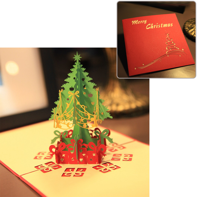 5pcs/Lot 3D Christmas Tree Greeting Cards Christmas Paper Gift Cards for Christmas Decorations co2 laser tube 50w 80cm co2 sealed laser tube laser machine part co2 laser tube