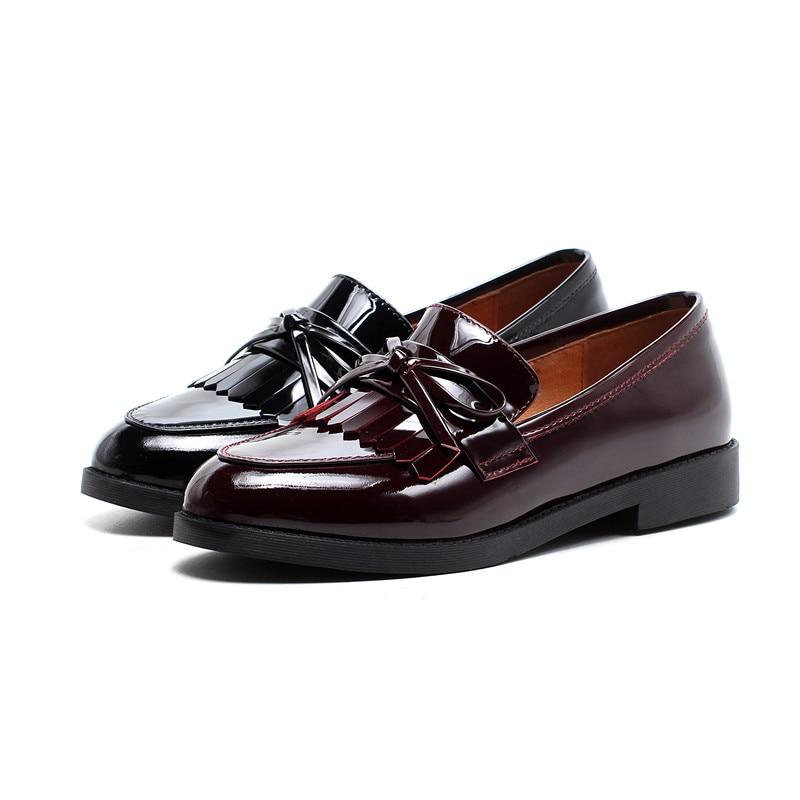 Collège Doux Red Haute Gland Été Loafers Bowtie Femmes 2019 Creepers Mocassins Black Qualité Filles Robe Chaussures Loafers Chaude wine Pour Printemps Appartements Style qIzIpwr