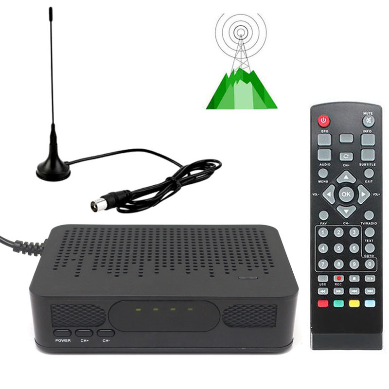 DVB-T2 Mini Size HD TV Digital Terrestrial TV Tuner FTA RECEIVER CONVERTOR + VHF UHF Antenna 1080P Set Top BOX HDMI Playback