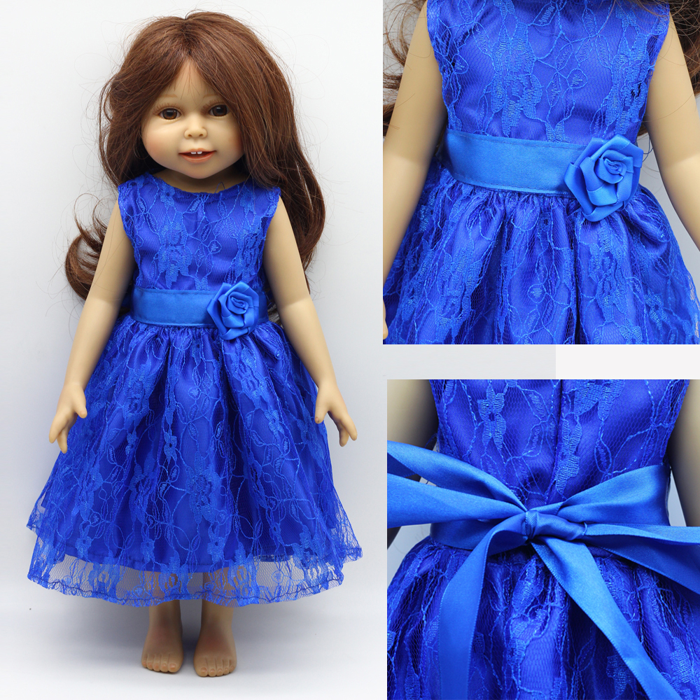 "1st Blue Doll Clothes för 1/3 18 ""45cm Girl Party Dress 18 tum 43cm baby doll kläder eg011"