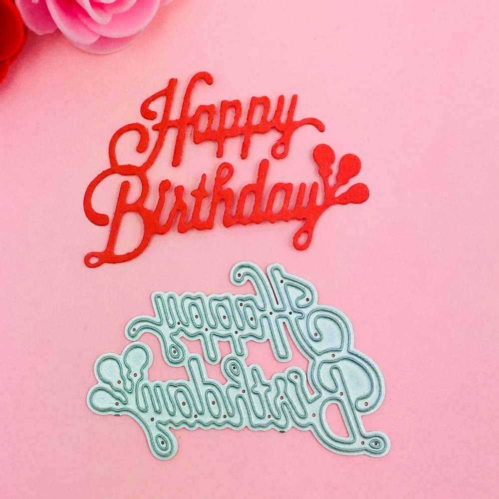 Happy birthday metal die cutting die scrapbooking embossing folder suit for sizzix fustella big shot cutting machine LUHONGPART