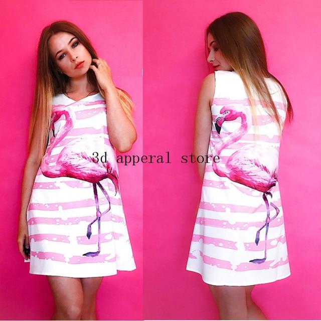 331334eca3 Floral Printed Flamingo Russia Dress Women Feather Elegant Graceful Beach  Dress Vestidos De Fiesta Robe Femme