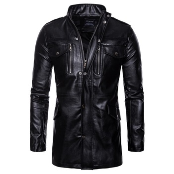 Brand Men's Aowofs2019 Autumn New Long Leather Coat Men's Collar Leather Jacket Four Pocket Motorcycle Leather Jacket B036