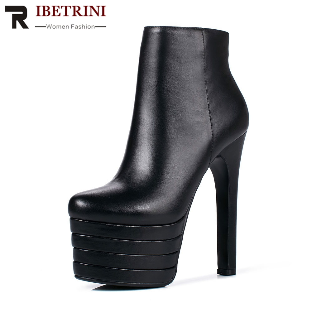 RIBETRINI Fashion New Ultra High Heels Genuine Leather Platform Shoes Woman To Party Wedding Club Female Ladies Shoes 3 ColorRIBETRINI Fashion New Ultra High Heels Genuine Leather Platform Shoes Woman To Party Wedding Club Female Ladies Shoes 3 Color