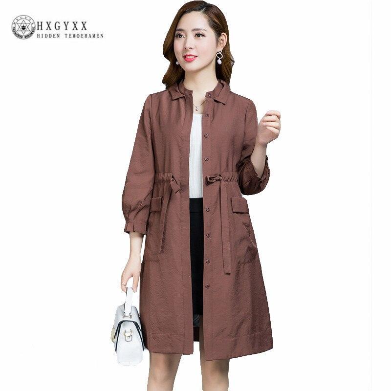 2018 Casual Summer Women Trench Coat Plus Size Stand Collar Windbreaker Female Overcoat Waist Pleated Outwear Abrigos Okb920