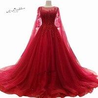 Gorgeous Red Wedding Dresses Lace Vestidos De Noiva Princess Wedding Gowns Beads Vintage Bride Dress 2018