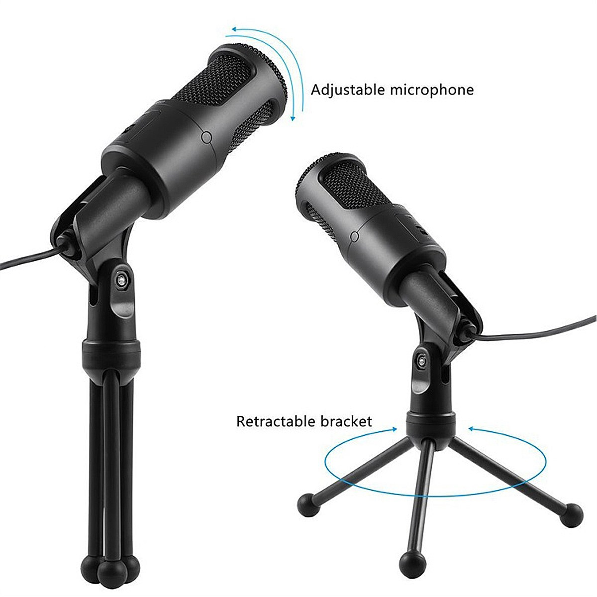 Professional Stereo Desktop Microphone With Stand Clip USB Handheld Microphones For PC Laptop Mic Chatting Karaoke