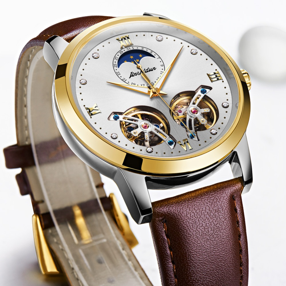 Double Tourbillon Skeleton Watch White Gold Dial Moon phase JSDUN Luxury Business Men Mechanical Wristwatch Automatic Watch 2019 - 2