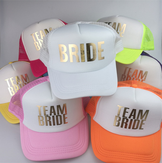 C Fung original deisgn BRIDE TEAM BRIDE Bachelorette Party Trucker hat Caps  White Neon gold glitter print 8c2faa18027d