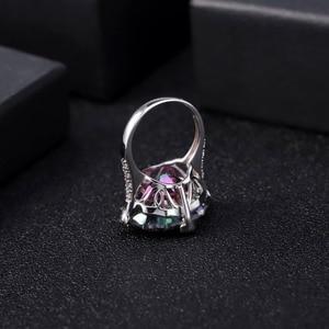 Image 3 - GEMS balet Natural Rainbow Mystic kwarcowy pierścionek koktajlowy 925 Sterling Silver nieregularne pierścienie z kamieniami szlachetnymi Fine Jewelry dla kobiet