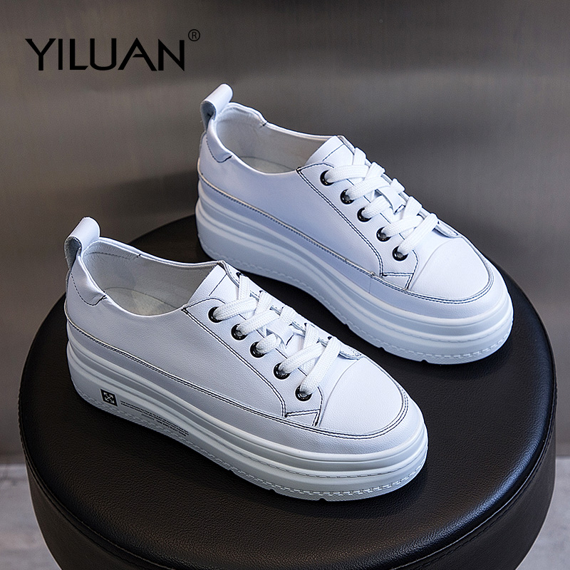 Yiluan Increased genuine leather 2019 spring new small white shoes sneakers woman original wild student shoes