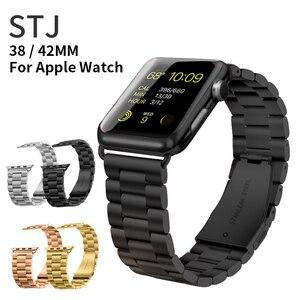 Image 2 - STJ ブランドステンレス鋼用時計バンドシリーズ 5/4/3/2/1 38 ミリメートル 42 ミリメートル金属時計バンド iwatch シリーズ 4 40 ミリメートル 44 ミリメートル