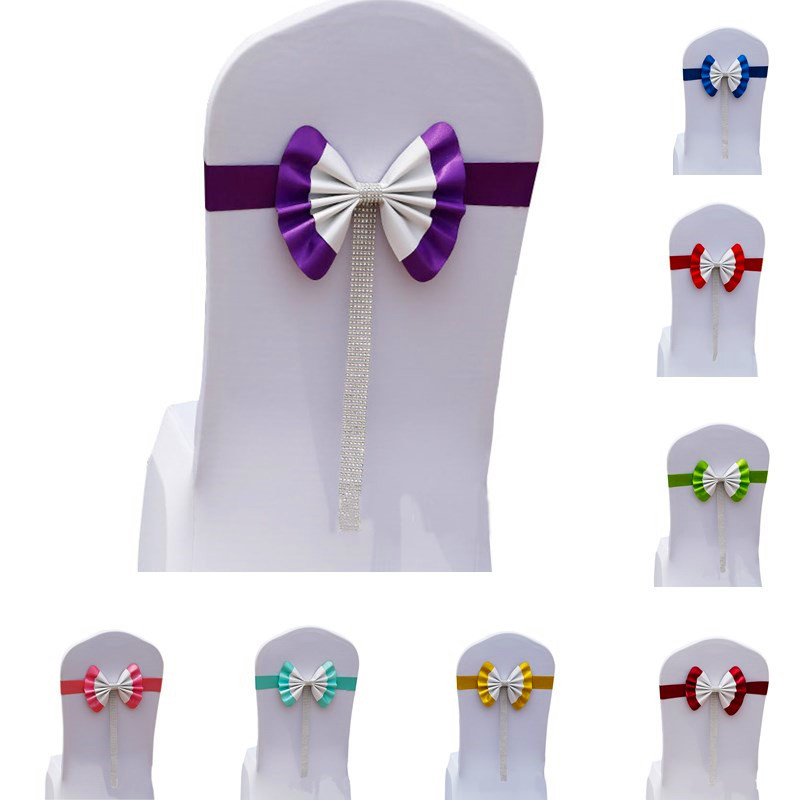 25Pcs Adjustable Bow Tie Ribbon Bands Decorative Chair Sashes Accessory Banquet Seat Dec ...