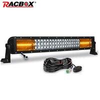 RACBOX 22 Inch 3 Row Straight LED Work Light Bar White 6000K Amber 4300K Combo Beam Offroad Led Bar 4x4 4WD Led Fog Lamp styling
