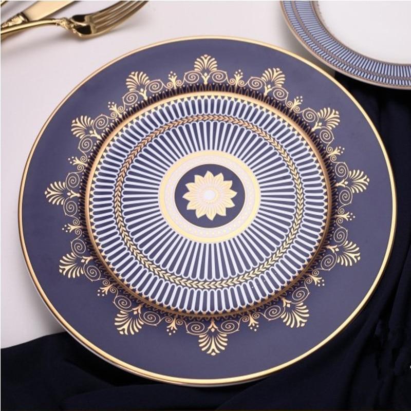 Ceramic Flat Plate Steak Tray Cup And Saucer Bone China Dinnerware Set Elegant Dinner Blue Dish