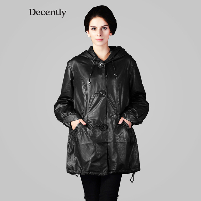DECENTLY  2014  женский плащи новынка большая пуговица  модный с капюшоном свободно  пальто  высокое качество бесплатная доставка 9288
