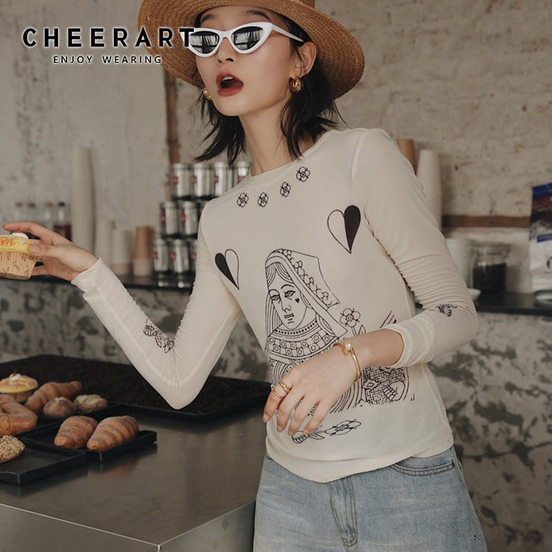 Cheerart Mesh T Shirt <font><b>Women</b></font> Long Sleeve Poker Print See Through Summer Top Fashion <font><b>Graphic</b></font> <font><b>Tees</b></font> Shirt Femme <font><b>2019</b></font> image