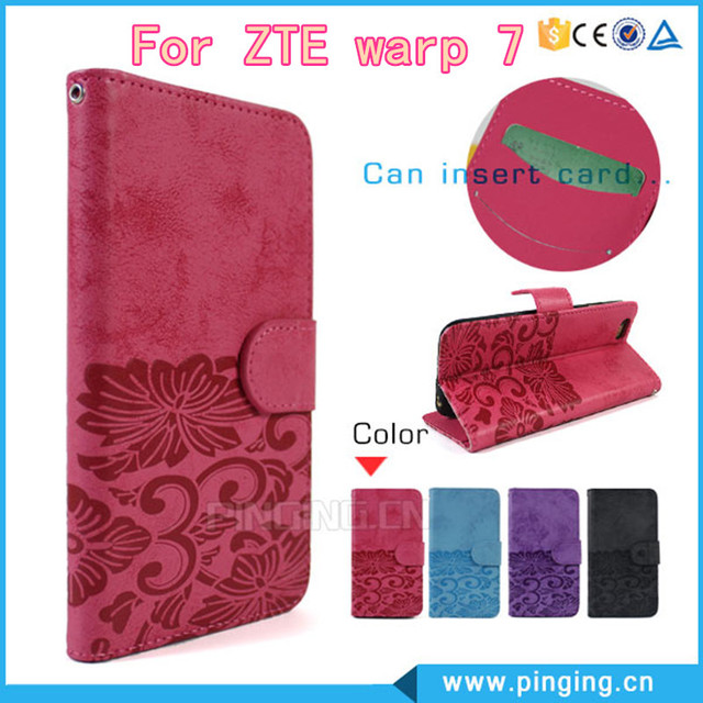 2016 Fashion Leather Flip Wallet Phone Case Design For ZTE warp 7 N9519 Cover Dedicated Slip Protective Wallet Free DHL