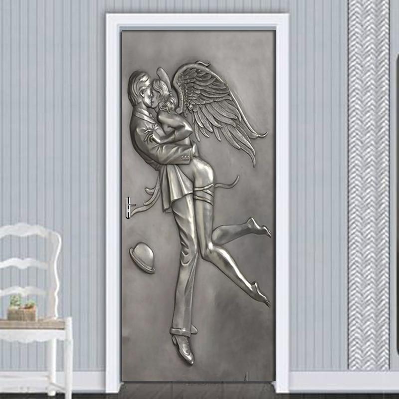 Embossed Couple Angel Bedroom Door Decoration Stickers Creative DIY Self-adhesive Wall Mural Wallpaper For Living Room 3D Decals