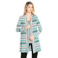 Women Retro Ethnic Floral Print Loose Cardigan Crochet Hem Women S Shirts No Button Blouses Tops