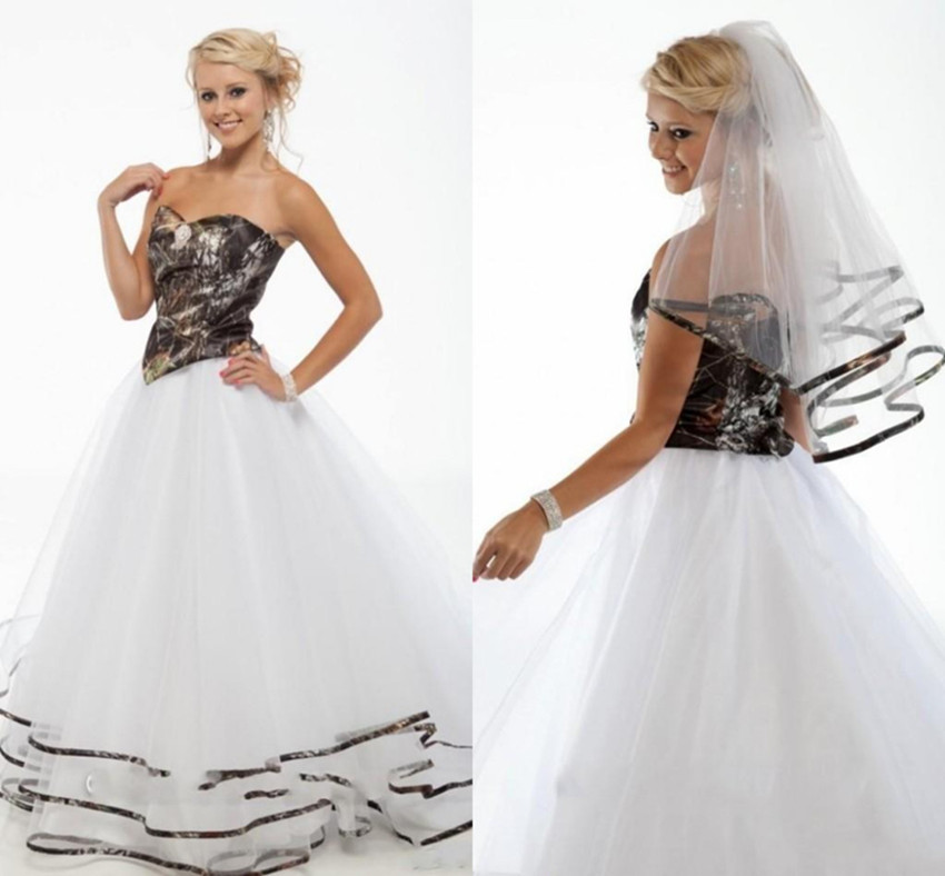 Camouflage Wedding Gowns: 2016 New Arrival Wihte Camo Wedding Dress Strapless A Line