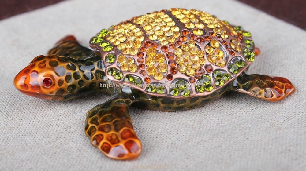 Small Turtle Jeweled Trinket Box with Shiny CrystalsTurtle Tortoise Jewelled Trinket Box Jewelry Box Turtle Pill Box Figurine